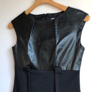 Calvin Klein Faux Leather stretch jersey LBD sz 2